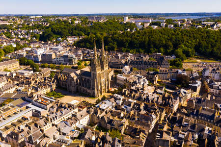 Aerial view of Quimper with Gothic Cathedral, Brittany