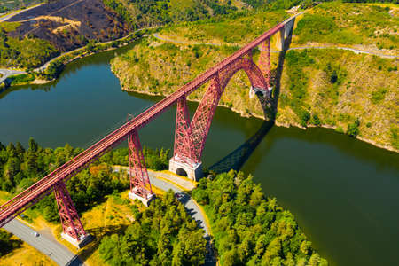 French railway arched Garabit Viaduct in Cantal department