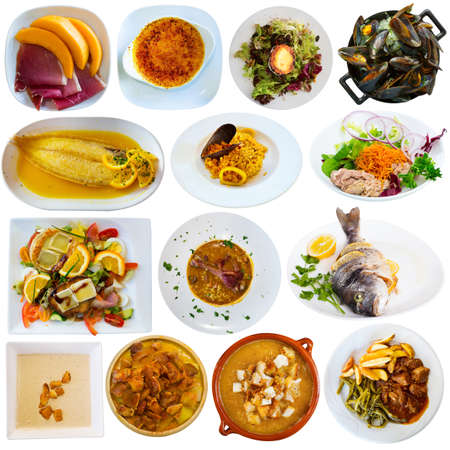 Collage of Catalan cuisine meals Imagens