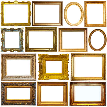 Vintage frames isolated on white Foto de archivo