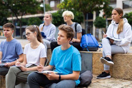 Teenagers preparing schoolwork outside school
