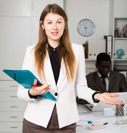 Businesswoman welcoming to office