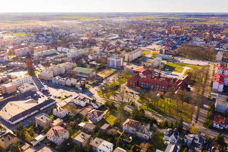 Panoramic view from the drone on the city Sroda Wielkopolska.