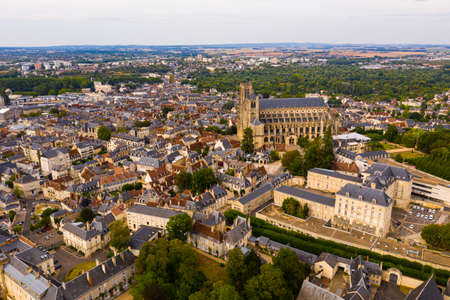 Scenic top view of the city Loches and the Royal castle Loches