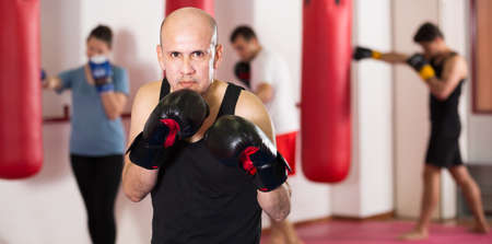 Professional boxer trains