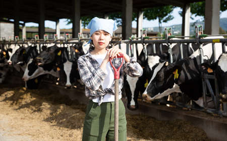 Positive female farmer who is standing near cows at the farm