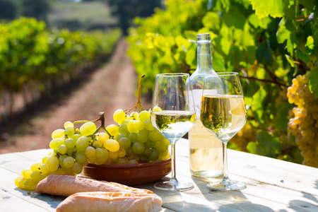 Still life with white wine, grapes and fresh bread in vineyards Archivio Fotografico
