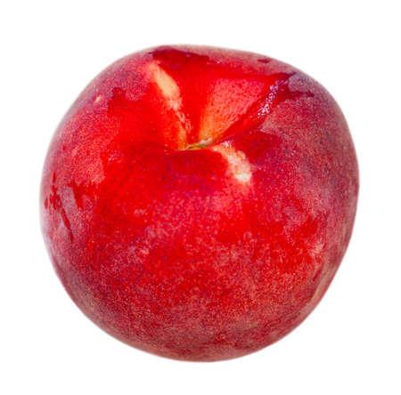 Closeup of whole ripe red peaches