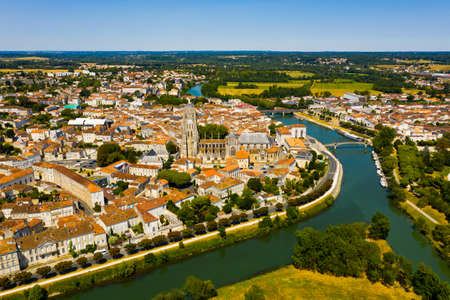 Aerial view of city of Saintes and Saint Peters Basilica. France 免版税图像