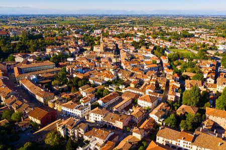 Aerial cityscape of Portogruaro, Italy