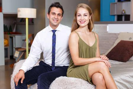 Loving couple in apartment