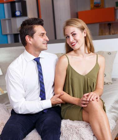 Romantic couple at home Stock fotó
