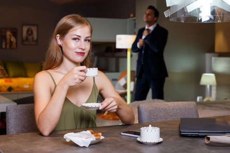Elegant woman with cup of coffee Stock fotó