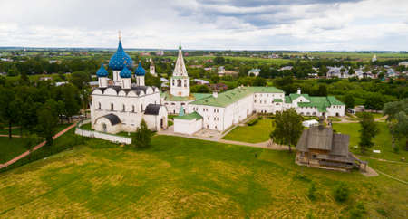 Aerial view of Suzdal Kremlin with Cathedral of Nativity
