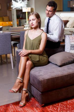 Romantic woman and man at home