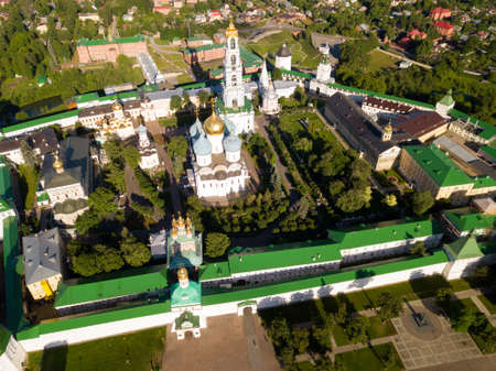 View from drones of churches in Trinity Lavra of St. Sergius Monastery