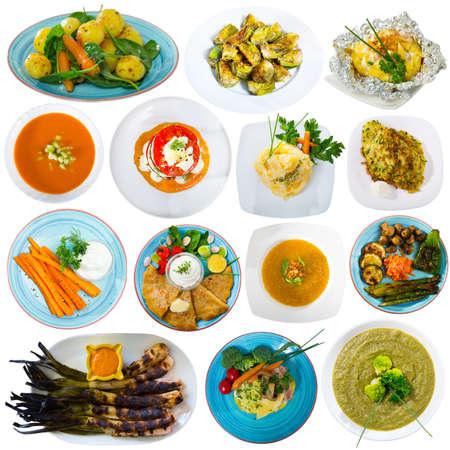 Set of vegetables dishes Banque d'images