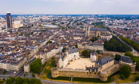 Aerial view of Nantes with Castle, cathedral and Tour Bretagne, France