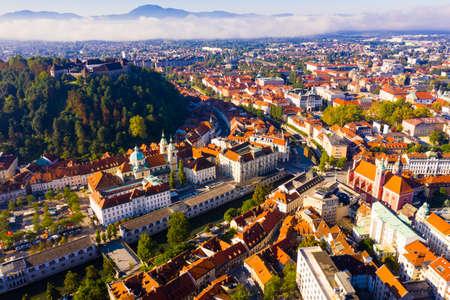 Aerial view of Ljubljana city, Slovenia
