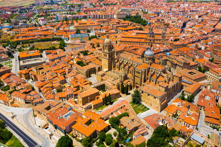 Aerial view of Salamanca Cathedral and historical center of city Stok Fotoğraf