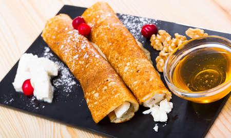 Bulgarian thin pancakes with brynza