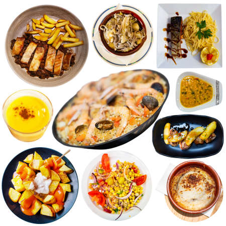 Collection of authentic dishes of Spanish cuisine