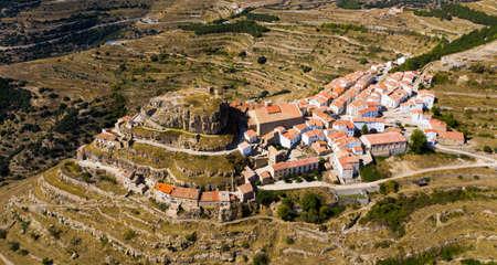 Top view of the city of Ares del Maestrat. Spain 版權商用圖片