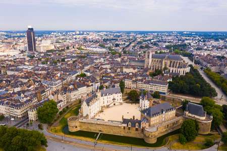 Drone view of ancient Chateau and Nantes Cathedral, France