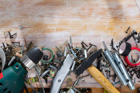 Variety of building hardware and tools with space for text Foto de archivo