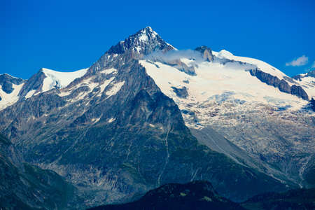 Scenic view of the mountain top Aiguille Verte. Western Alps.