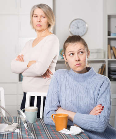 Adult daughter quarreled with her mother 免版税图像