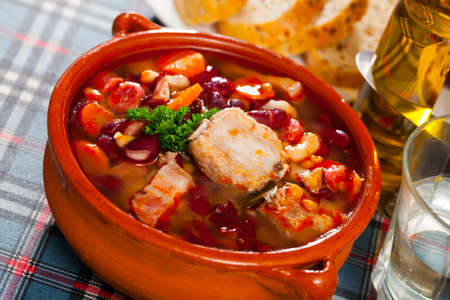 Rich soup with pork and beans