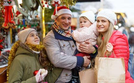 Family portrait at Christmas fair
