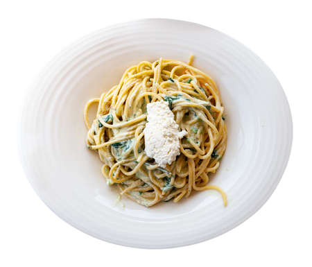 Appetizing pasta with ricotta and spinach