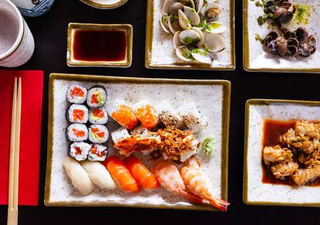 Delicious Japanese various sushi salmon maki and nigiri