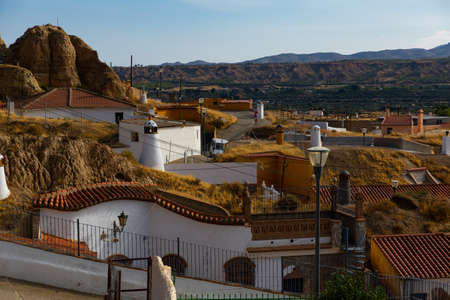 View from drone of cave house area of Guadix, Spain