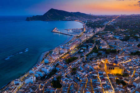 Aerial view of city of Altea and the picturesque Mediterranean coast. Spain
