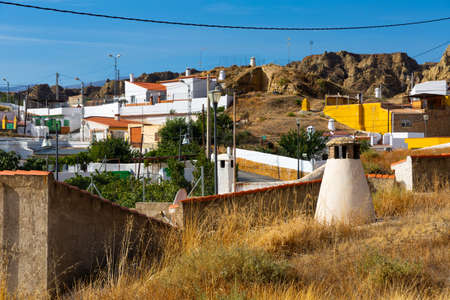 Cave houses and Rock formations. Guadix. Province Granada, Spain