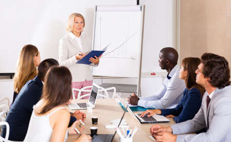 Woman presenting strategy to colleagues