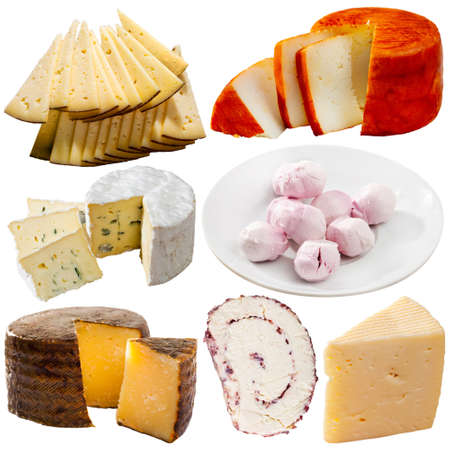 Collection of cheeses isolated on white background