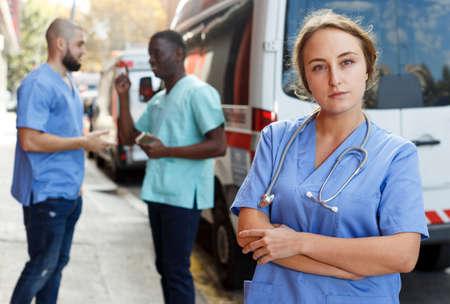 Portrait of female emergency doctor