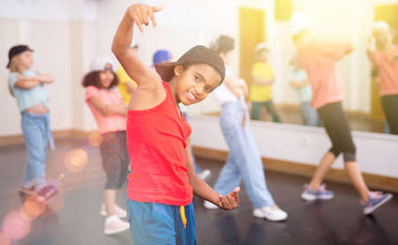 Afro boy hip hop dancer exercising at class Zdjęcie Seryjne