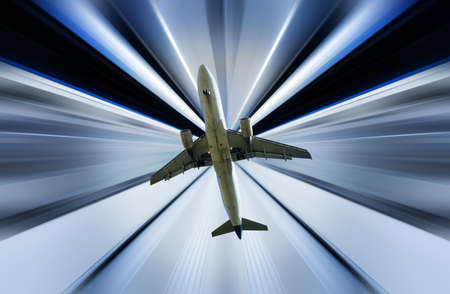 Airplane on divergent rays background