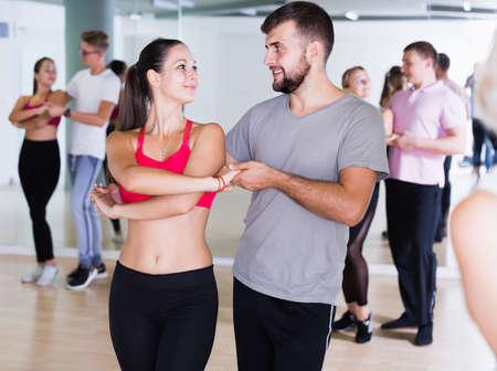Active dancing pair dance tango together