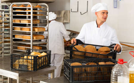 portrait of european male baker in bakery