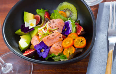 Delicious ceviche with salmon fillet