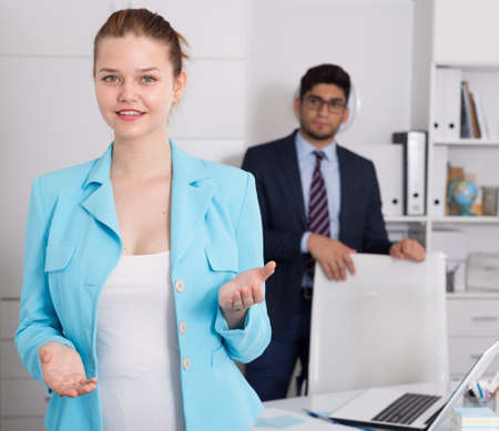 Businesswoman welcoming to company office