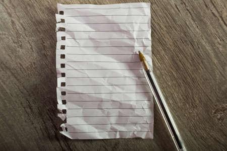 crumpled sheet notebook line