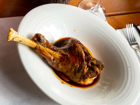 Roasted tasty lamb with sauce and mashed potatoes