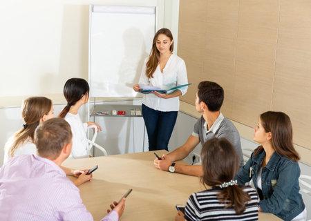 Female manager making presentation